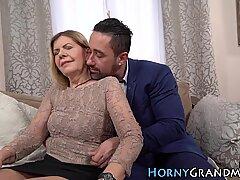 Horny grandma facialized