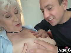 Granny Norma got a big load from Rob'_s meaty cock