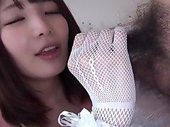 Japanese stocking hand plus ass rimming