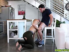 Sexy blondie goes on top of her stepbros throbbing cock!