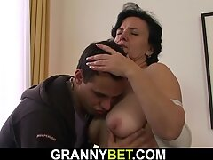 He picks 70 years elderly dark-haired granny