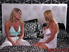 Busty blonde eats pussy