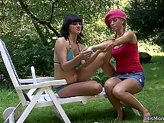 Busty mom and teen fucking outside