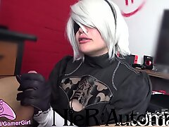 2B cosplay  - blowjob & Facefuck - Nier Automata
