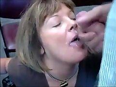 Mature secretary sucks dick and gets facial