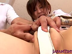 Nippon petite schoolgirl pussyrubbed in class