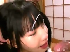 Japanese girl gets cum all over face 2